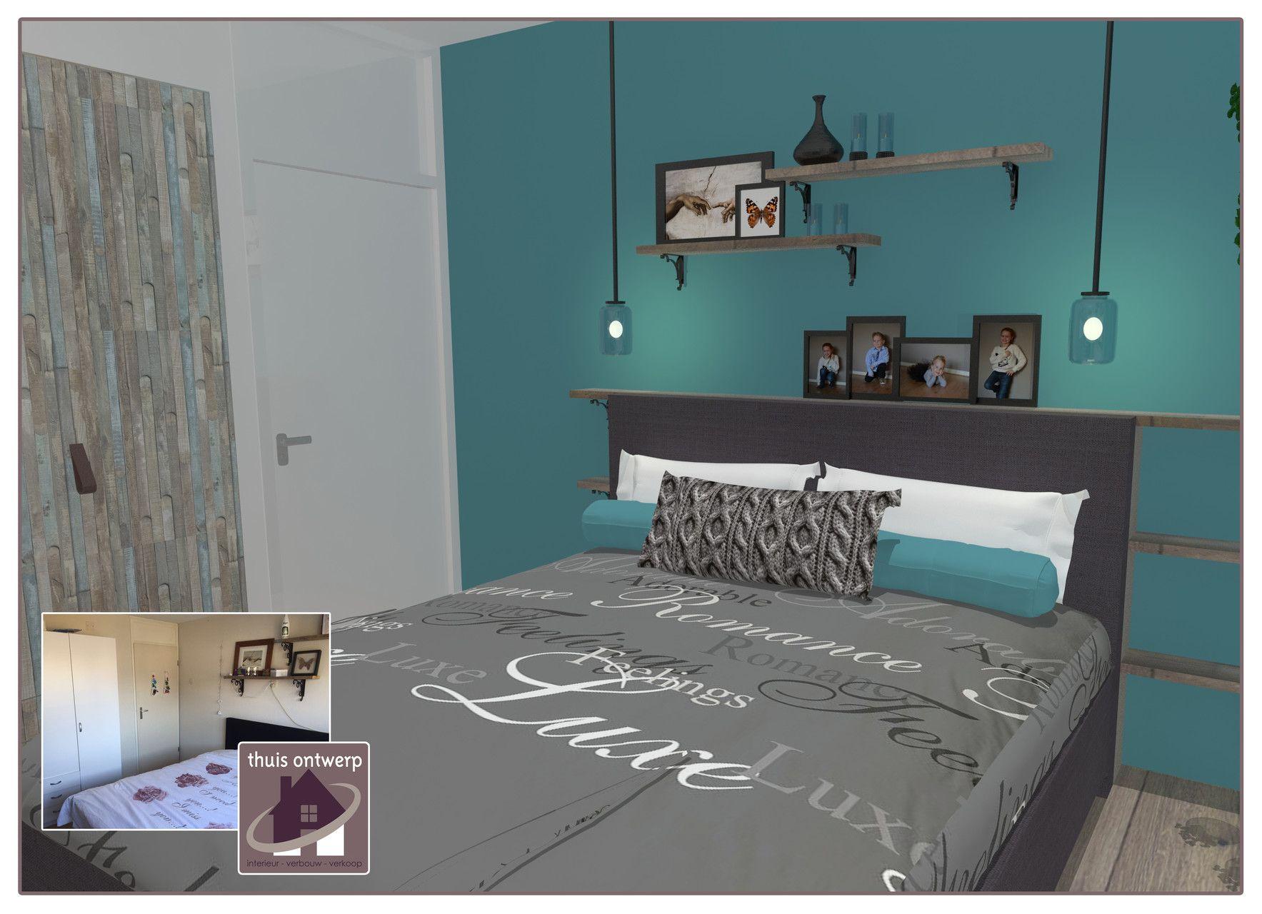 Slaapkamer Digitaal Inrichten : Slaapkamer l blauwgroen l budget aanpassingen l digitale restyling