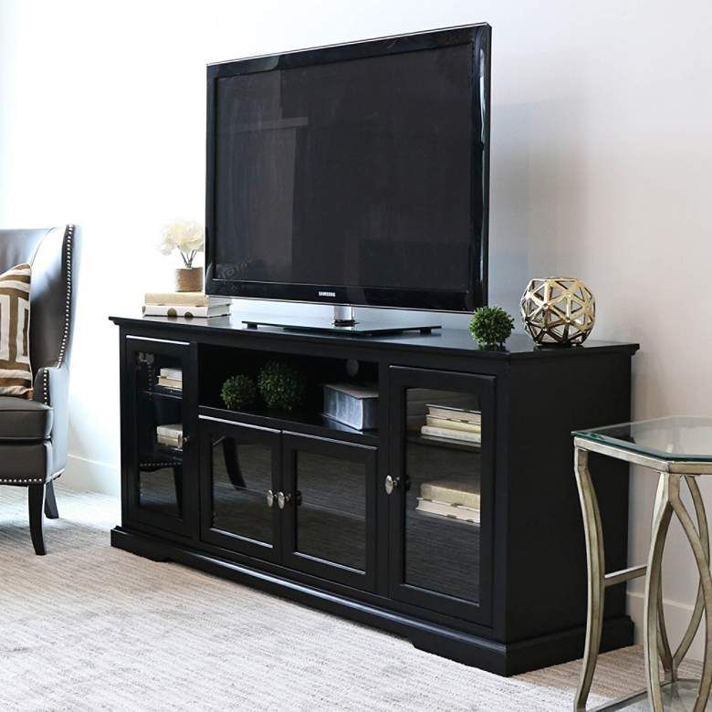 Cass 70 Wide Black Wood 4 Door Tv Stand With Glass Doors 1w394 Lamps Plus Tv Stand With Glass Doors 70 Inch Tv Stand Highboy Tv Stand