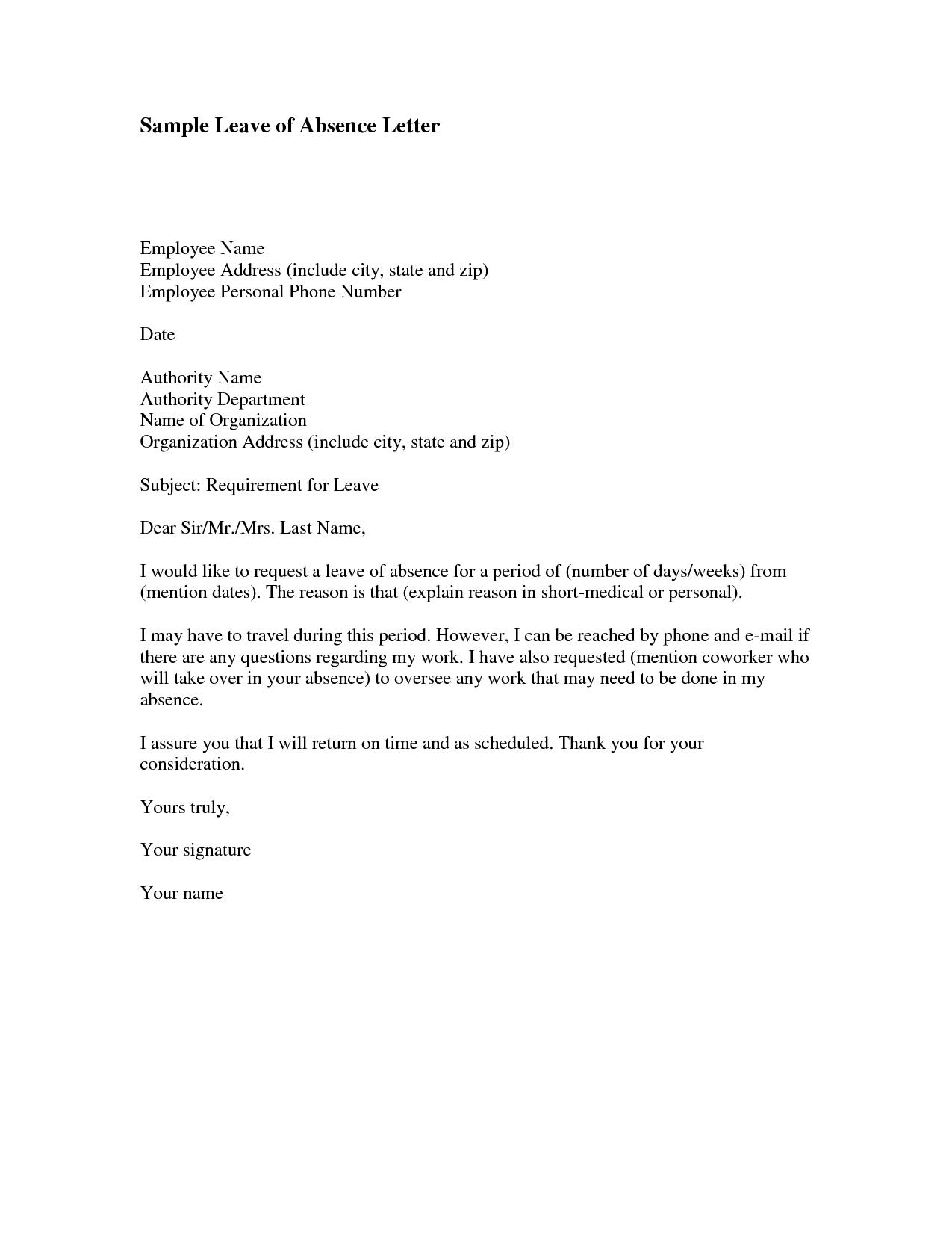 Letter Of Absence To Work Letter Of Absence To Work