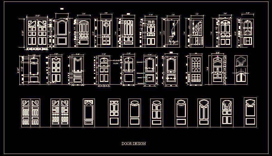 Various designs blocks of wooden panelled door autocad for Door design cad
