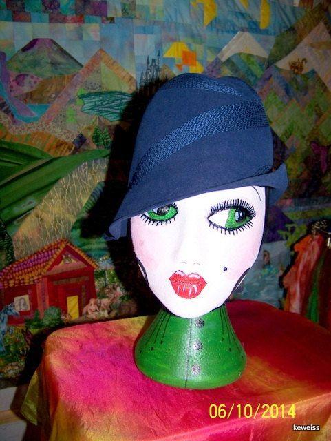 Blue Wool Felt Flapper Style Hat 1960's vintage by karineweiss