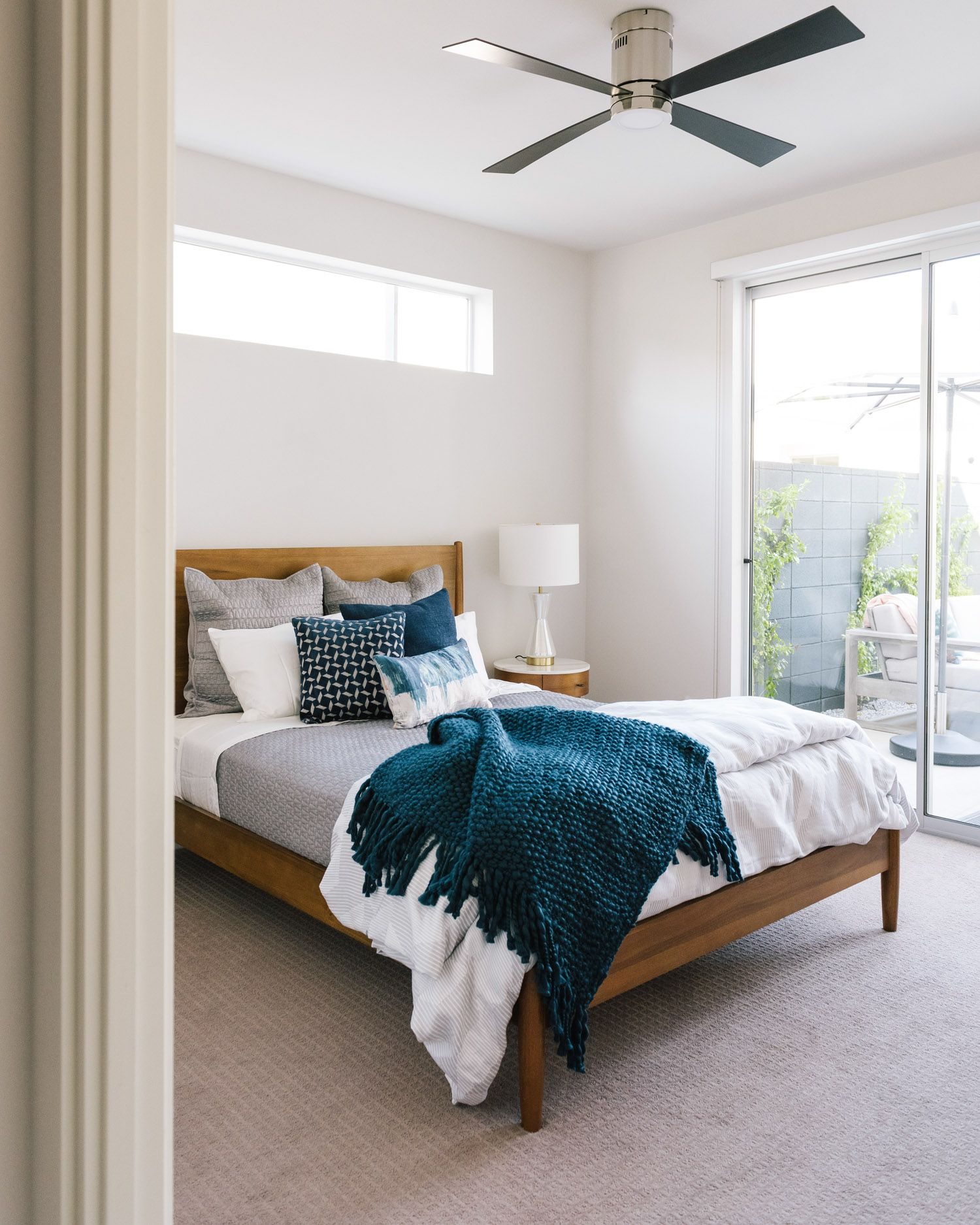 White & Blue Bedroom | Grey bedroom with pop of color, Grey and