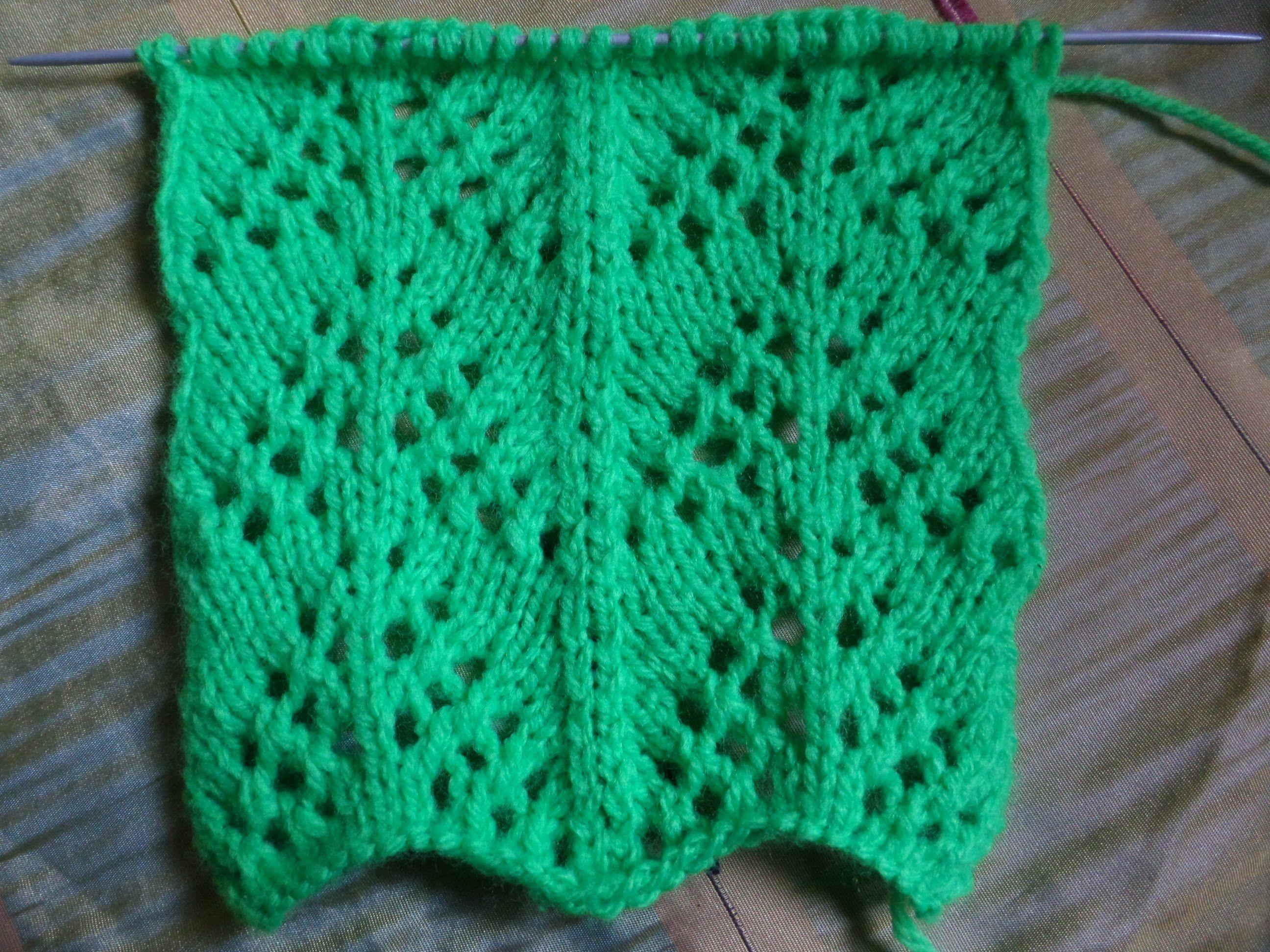 Ажурный волнистый узор. Вязание спицами. Knitting (Hobby)