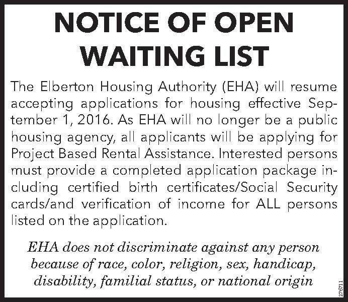 Notice Of Open Waiting List The Elberton Housing Authority Eha Will Resume Accepting The Elberto Elberton Elberton Georgia Different Types Of Houses