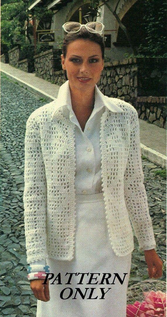 Instant download crochet pattern - women\'s jacket - filet crochet ...