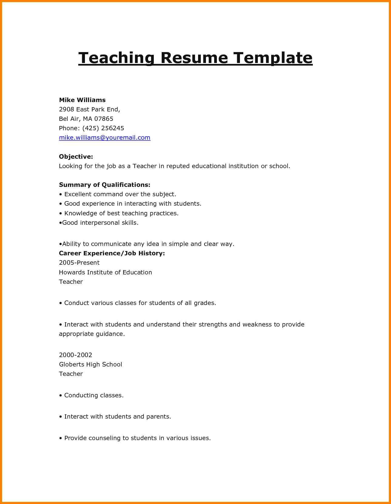 Sample For Teacher Job Resume Math Application Letter High School