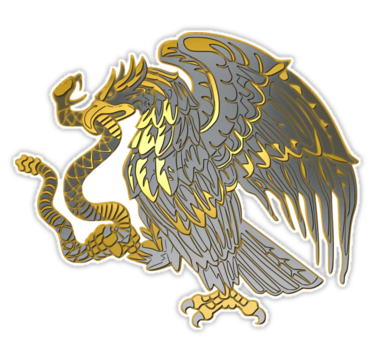 Silver Mexican Eagle Sticker By Rebeldeshirts In 2021 Mexican Eagle Mexico Design Aztec Art