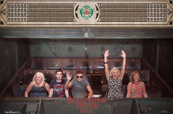 Liam and his family on the Tower of Terror