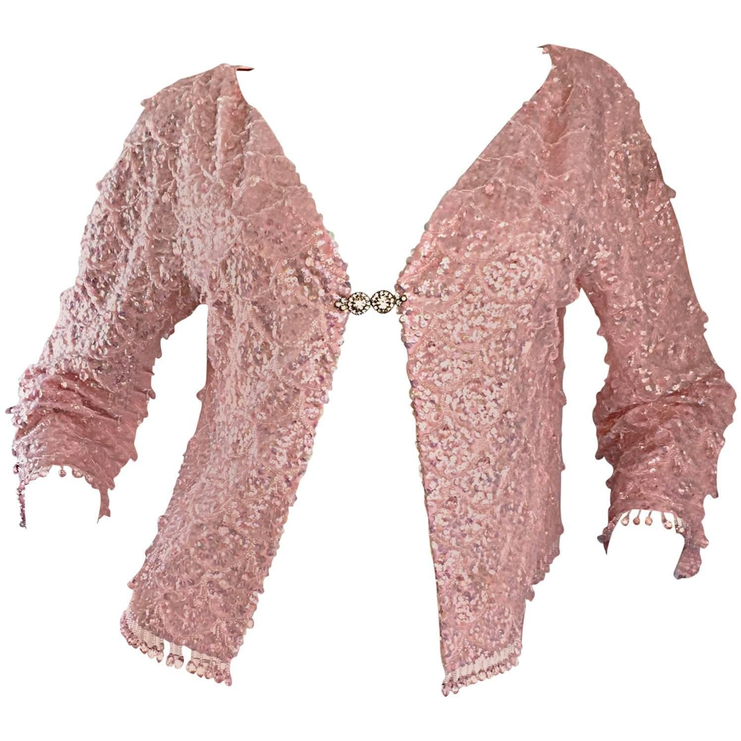 b6cd3d44 Beautiful 1950s Light Pink Silk Sequin Beaded Silk Rhinestone Jacket  Cardigan | From a collection of