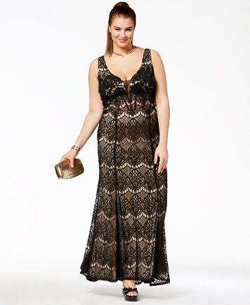 say yes to the prom trendy plus size corsetback lace gown