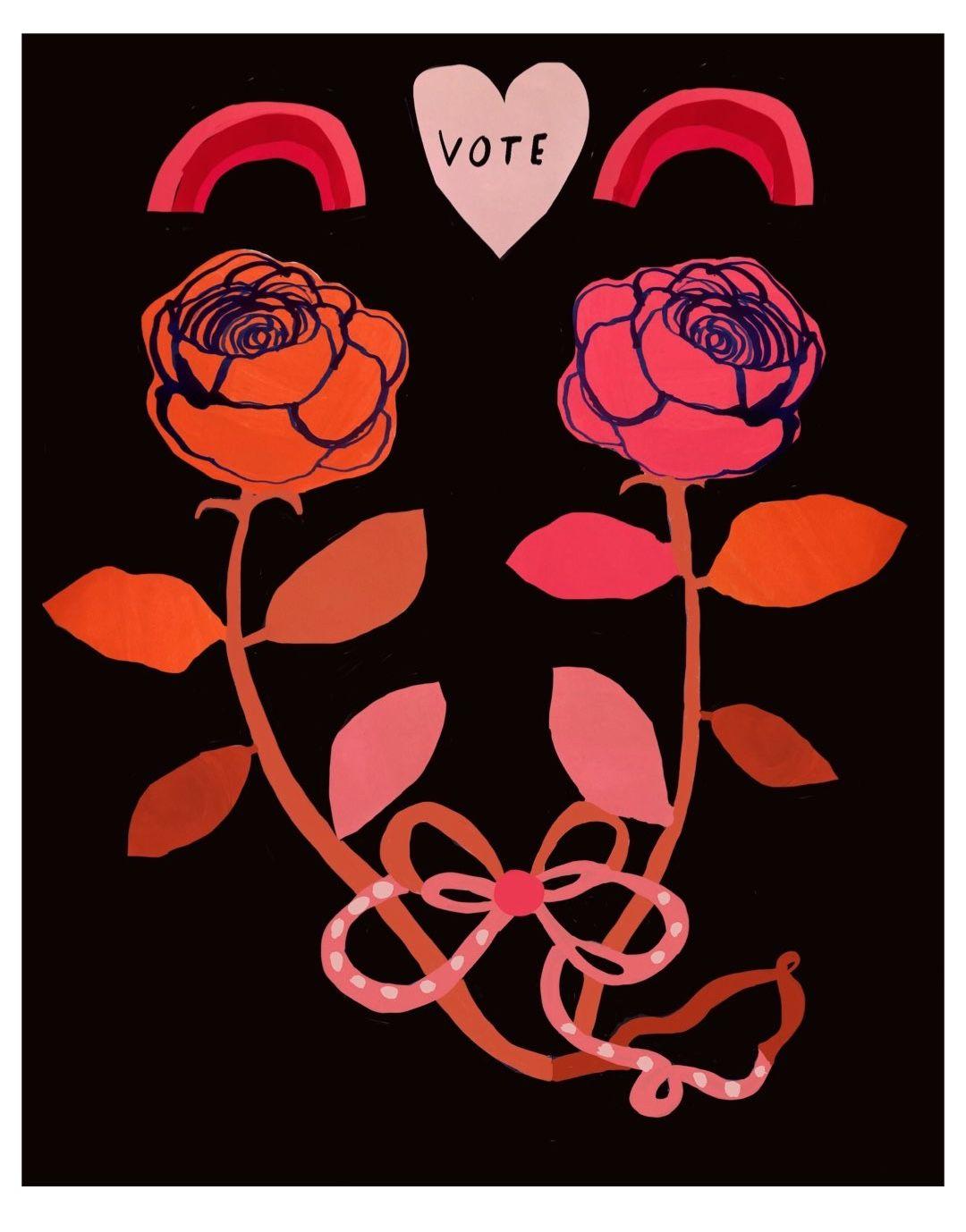 Vote Rose Folk Art Illustration by Colleen Harrington in