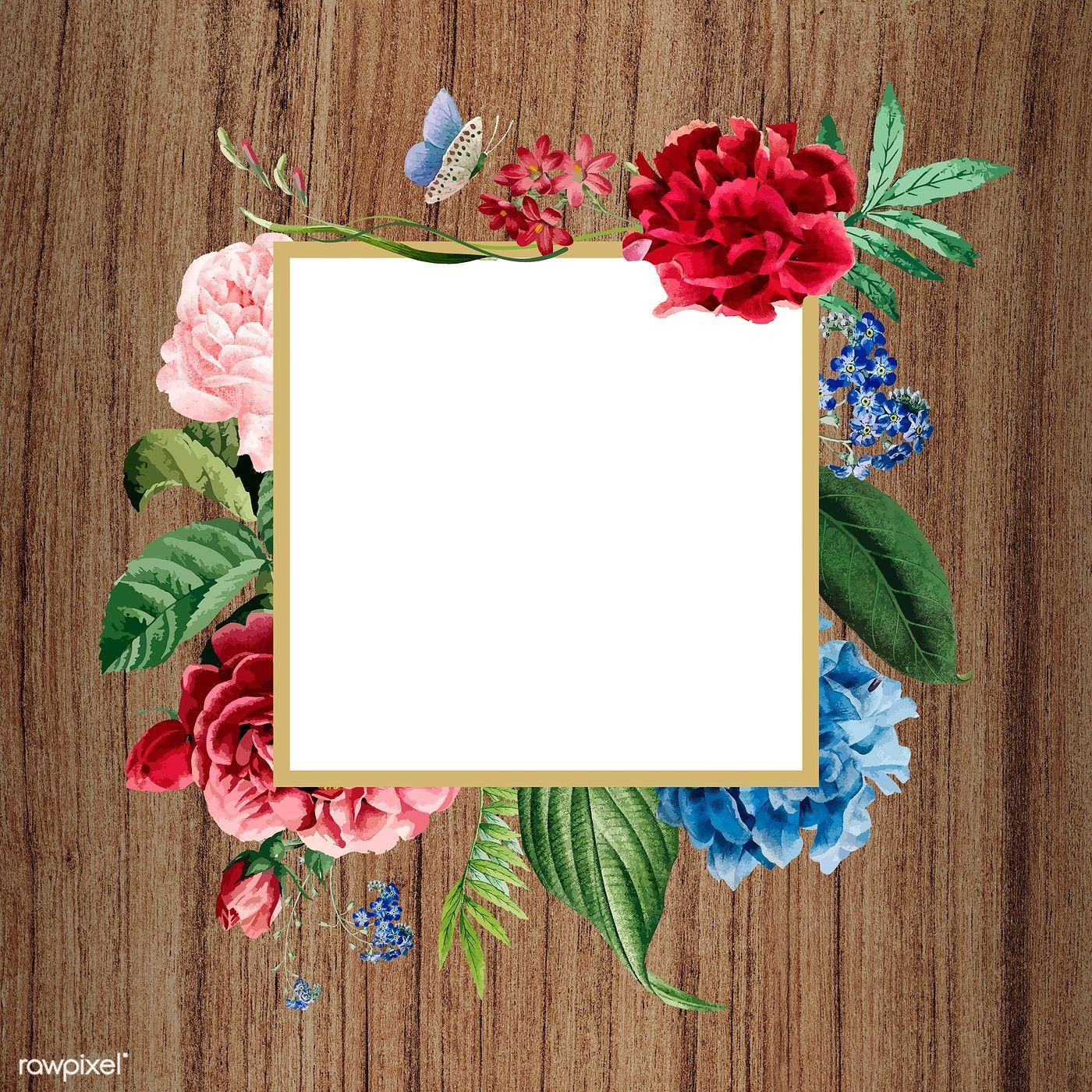Download premium illustration of Floral square frame on a ...
