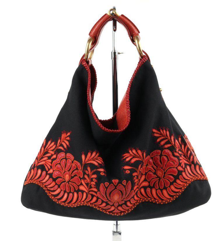 e8841bdfba01 Gucci Black Canvas & Red Lizard Leather Floral Applique