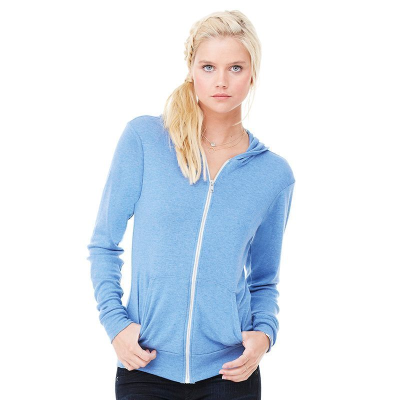 WOMEN CASUAL BELLA CANVAS TRI BLEND FITTED HOODED SWEAT