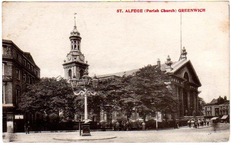 St Alfege Parish Church, Greenwich, 1714, Nicholas Hawksmoor, architect, postcard view
