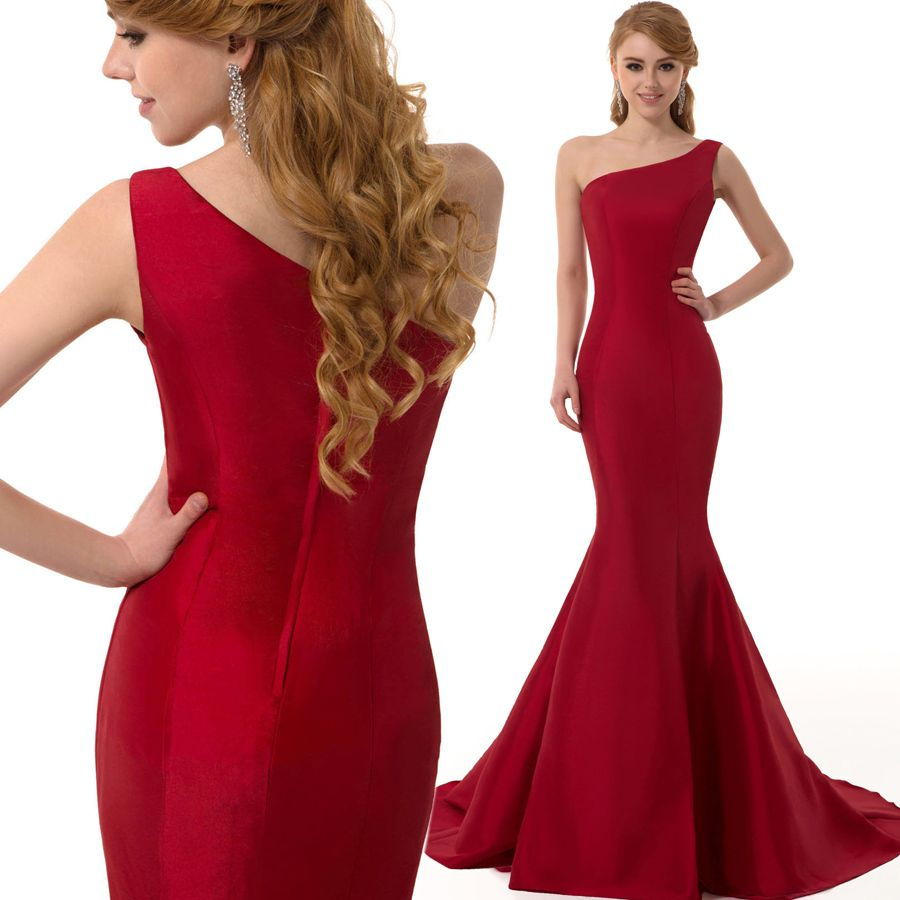 Free shipping brief elegant burgundy mermaid oneshoulder evening