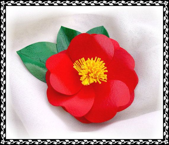 Camellia Sasanqua PIn or Hair Clip by FlowerSculptures on Etsy, $19.00