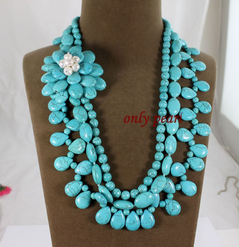 Free Shipping Turquoise Necklace 2224inches 3row by OnlyPearl
