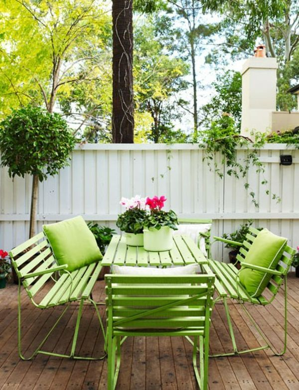 painted green garden furniture