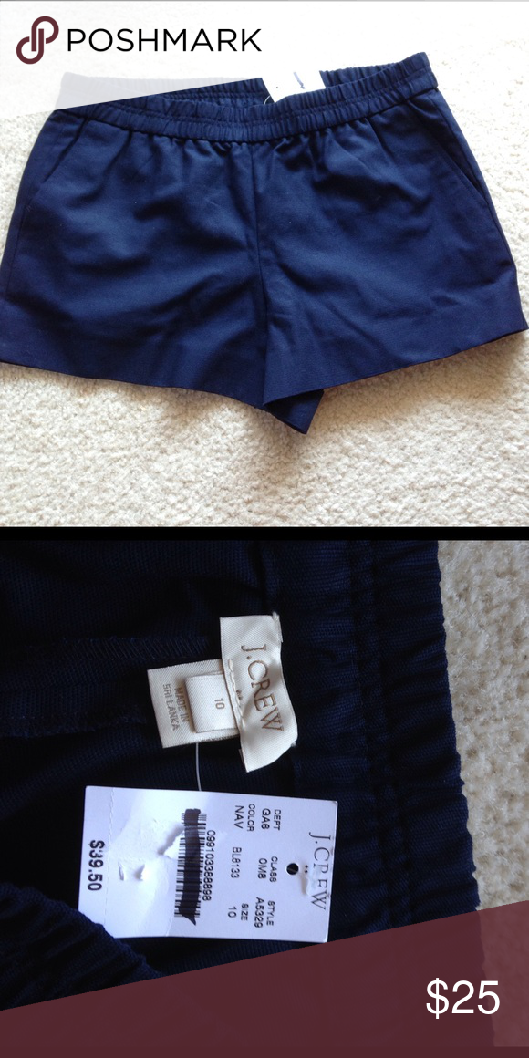 J. Crew Navy Shorts with Stretchy Waist NWT These are great shorts, super comfy and well made. They have a stretchy waist and pockets! J. Crew Shorts