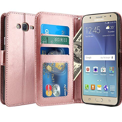 J7 Case LK Kickstand Feature Luxury PU Leather Wallet Case Flip Cover Builtin Card Slots  Stand for Samsung Galaxy J7 ROSE GOLD >>> Click image to review more details.