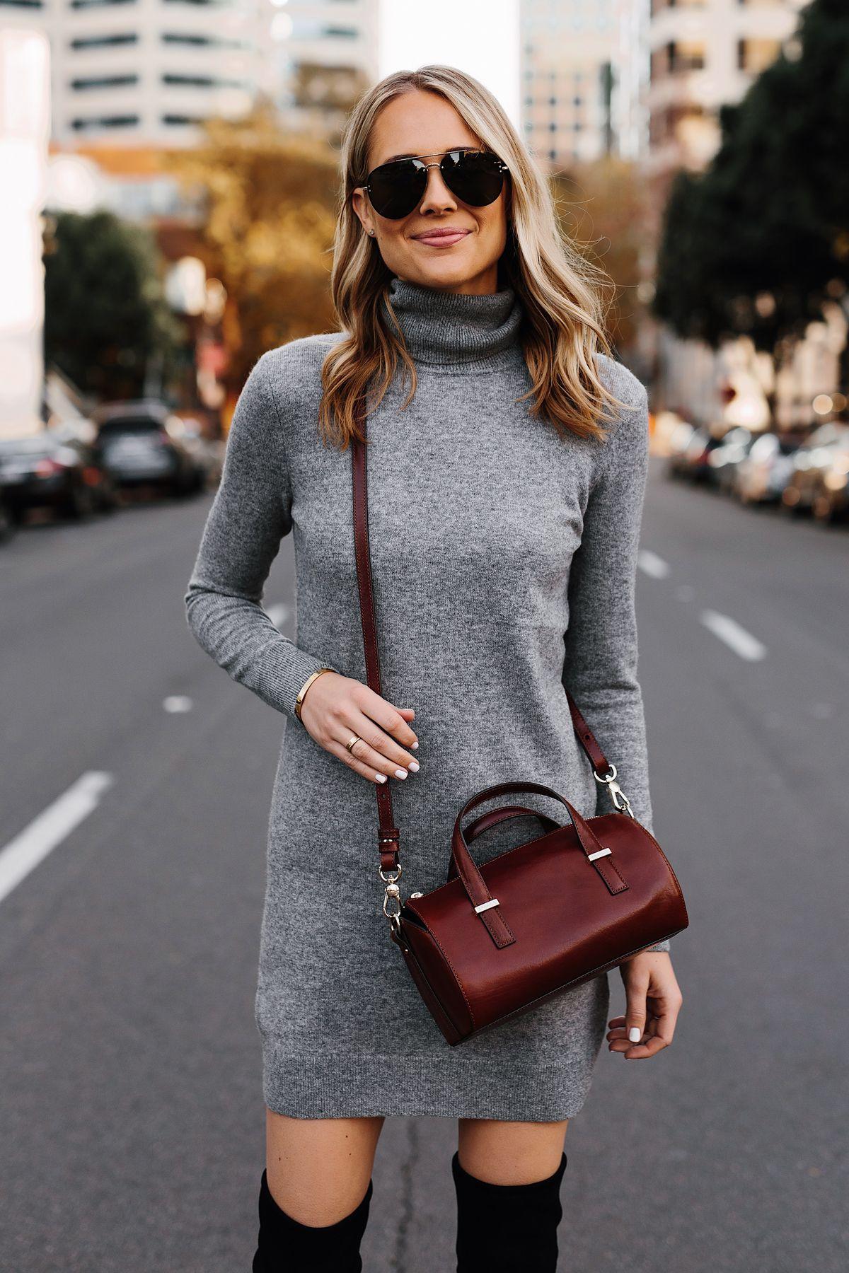 2b1358f0d39 Blonde Woman Wearing Grey Turtleneck Sweater Dress Brahmin Crossbody  Fashion Jackson San Diego Fashion Blogger Street Style