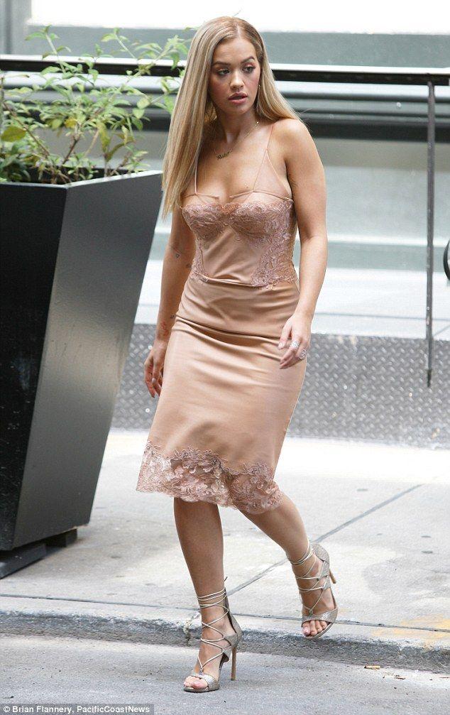 e80538f184f71a Rita Ora steps out in SoHo in a nude slip dress | Fashion Finder ...