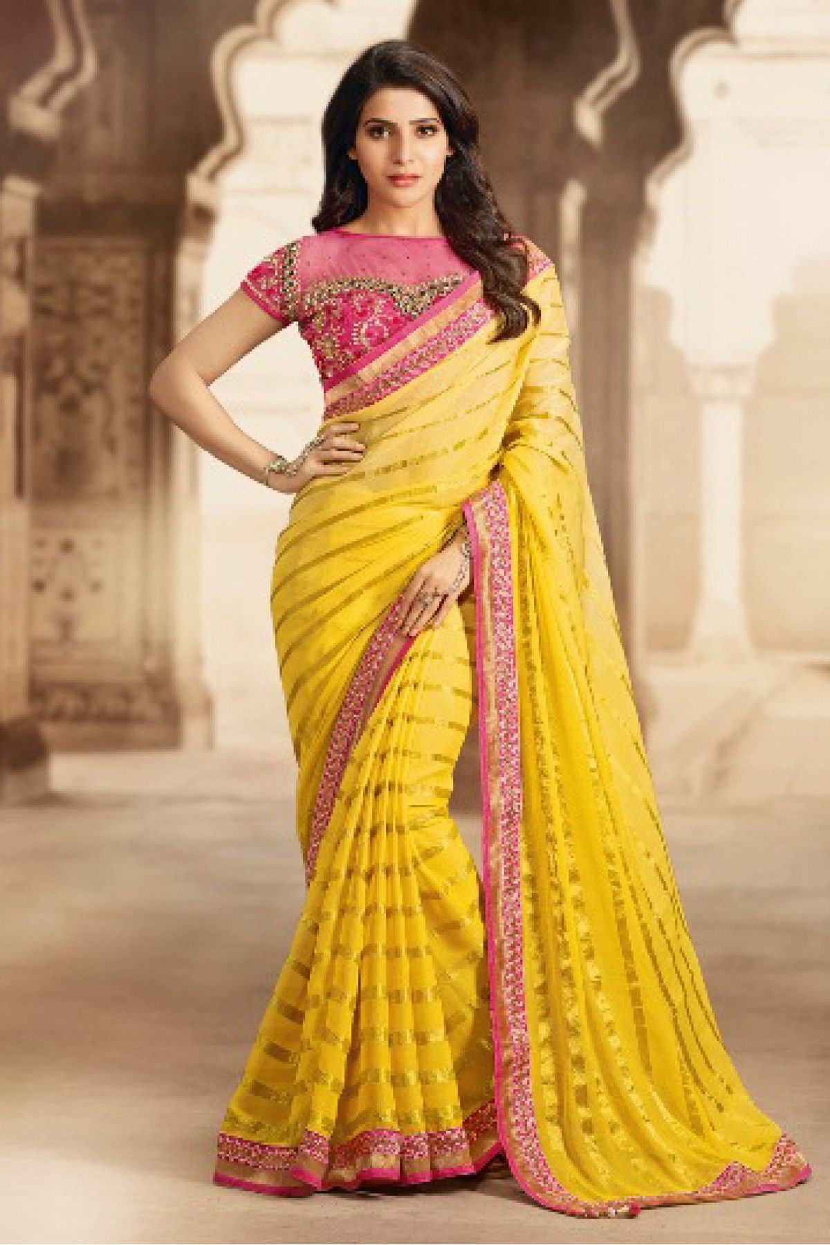 316247a1545606 Yellow Colour Georgette Fabric Designer Saree Comes With Matching Blouse.  This Saree Is Crafted With Stone Work,Thread Work,Embroidery,Lace Work.