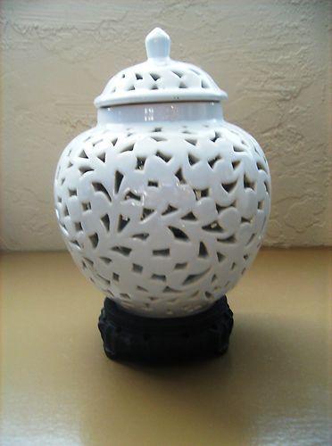 Vintage 1940 S Blanc De Chine Chinoiserie Pierced Ginger Jar Lamp Jars