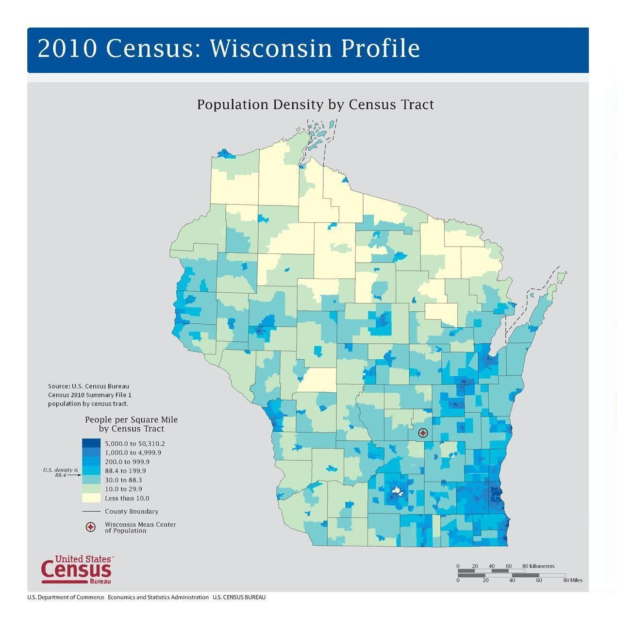 Wisconsin population density map based on Census 2010 data