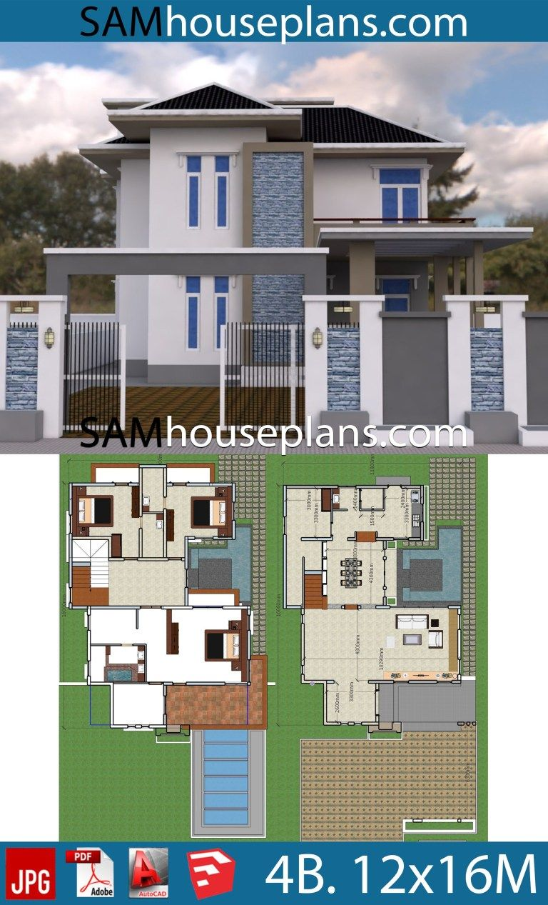 Best House Plans 12X16 With 4 Bedrooms House Plans Modern 400 x 300