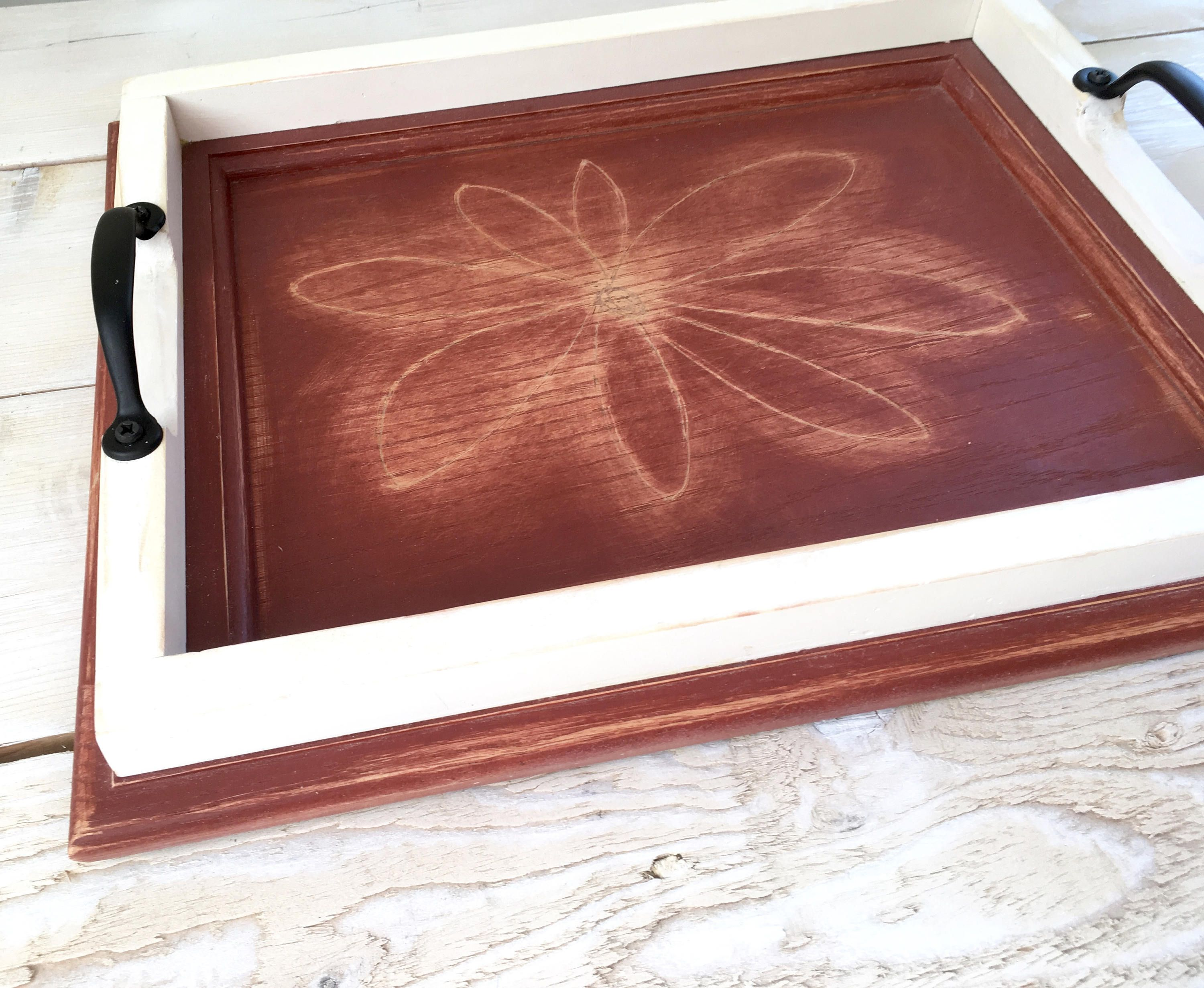 Hand carved red decorative tray from repurposed cabinet door
