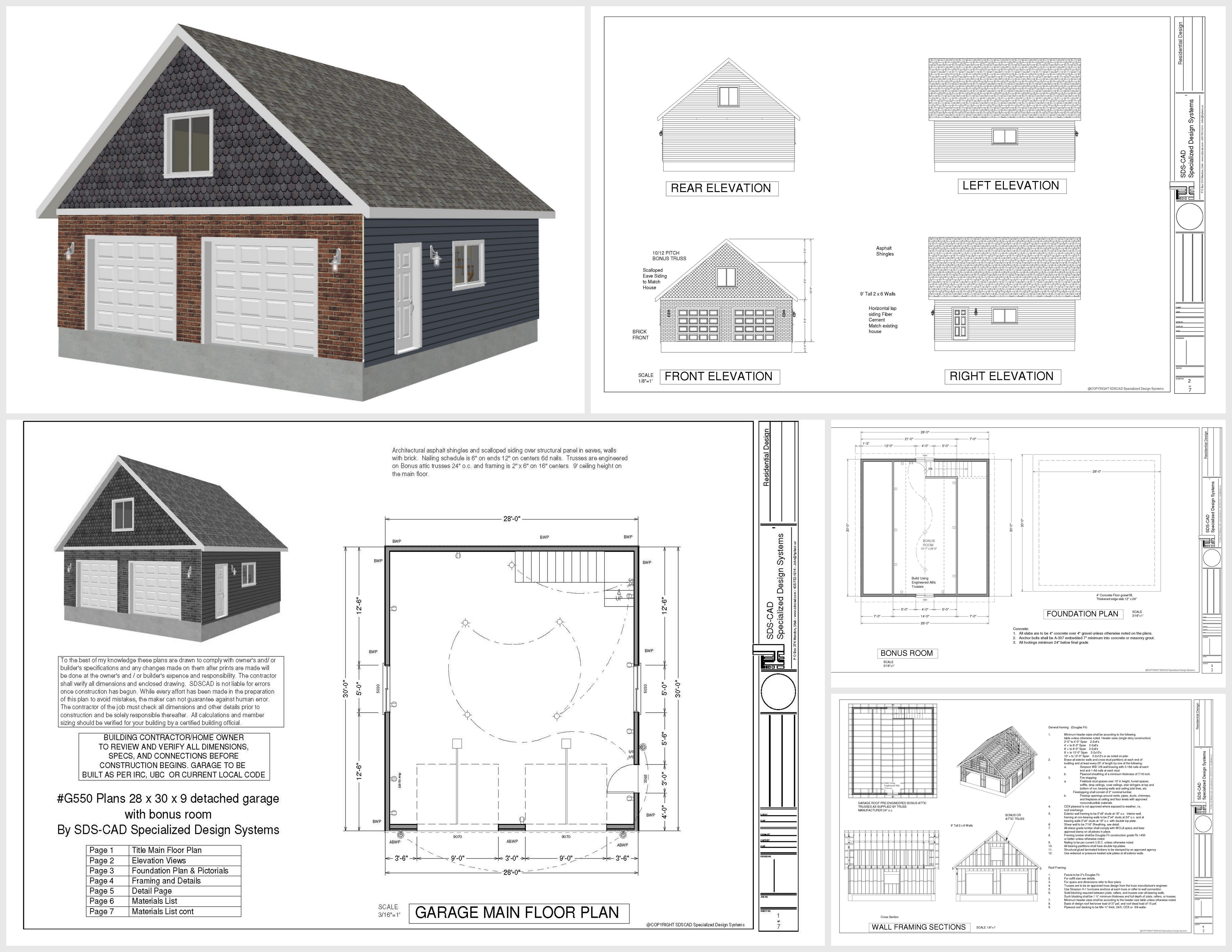 G550 28 x 30 x 9 garage plans with bonus room sds plans for Double garage with room above