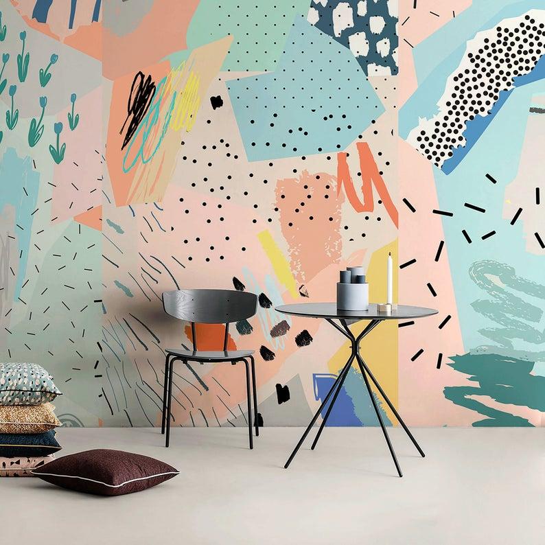 Removable Wallpaper Peel And Stick Wallpaper Wall Paper Wall Mural Abstract Pop Wallpaper A521 Wall Murals Painted Interior Murals Mural Wall Art