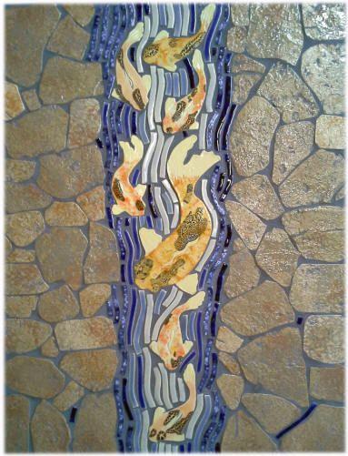 Ceramic tile fancy tail koi fish waterfall shower walls for Waterfall tile design