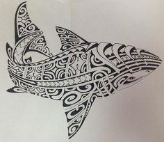 Mod le de tattoo requin pour l 39 homme de dessin polyn sien maori tattoo maori tattoo designs - Modele dessin requin ...
