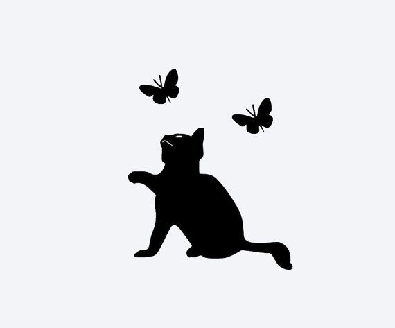Cat Butterflies Vinyl Decal Cell Phone Decal By DeerRunCreations - Vinyl decal cat pinterest