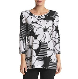 Alfred Dunner® Exploded Floral Knit Tunictop