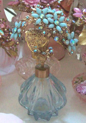 Hand painted vintage perfume bottle by Catherine Risi