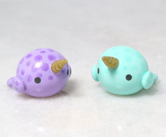 Kawaii Pastel Narwhal Figurine – Polymer Clay Figures – Fantasy Miniatures – Polymer Clay Sculpture