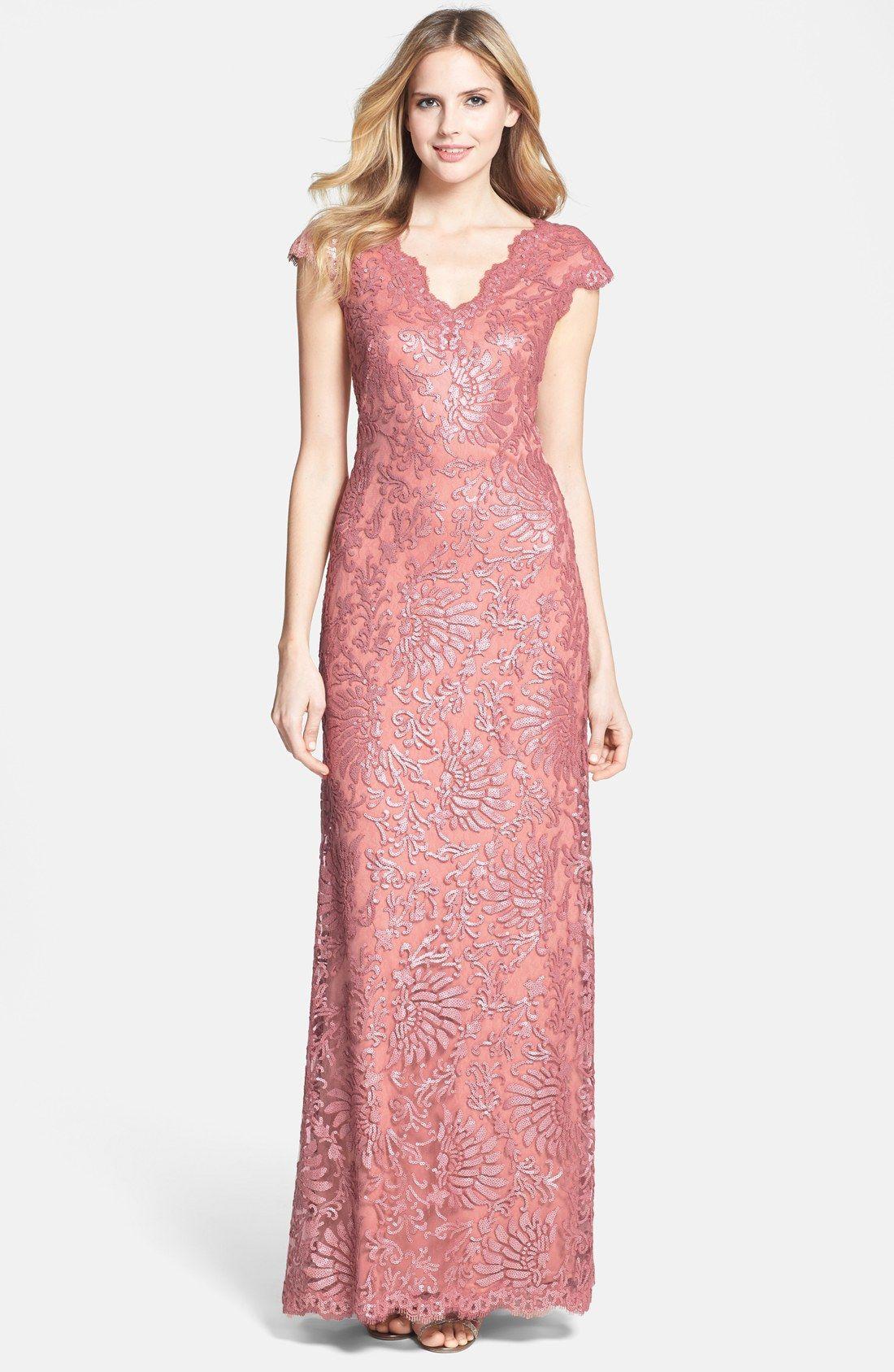 Tadashi Shoji Cap Sleeve Embellished Lace Gown | Nordstrom | Women ...