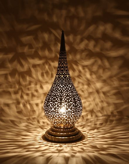 Beautiful Antique Brass Moroccan Flame Table Lamp