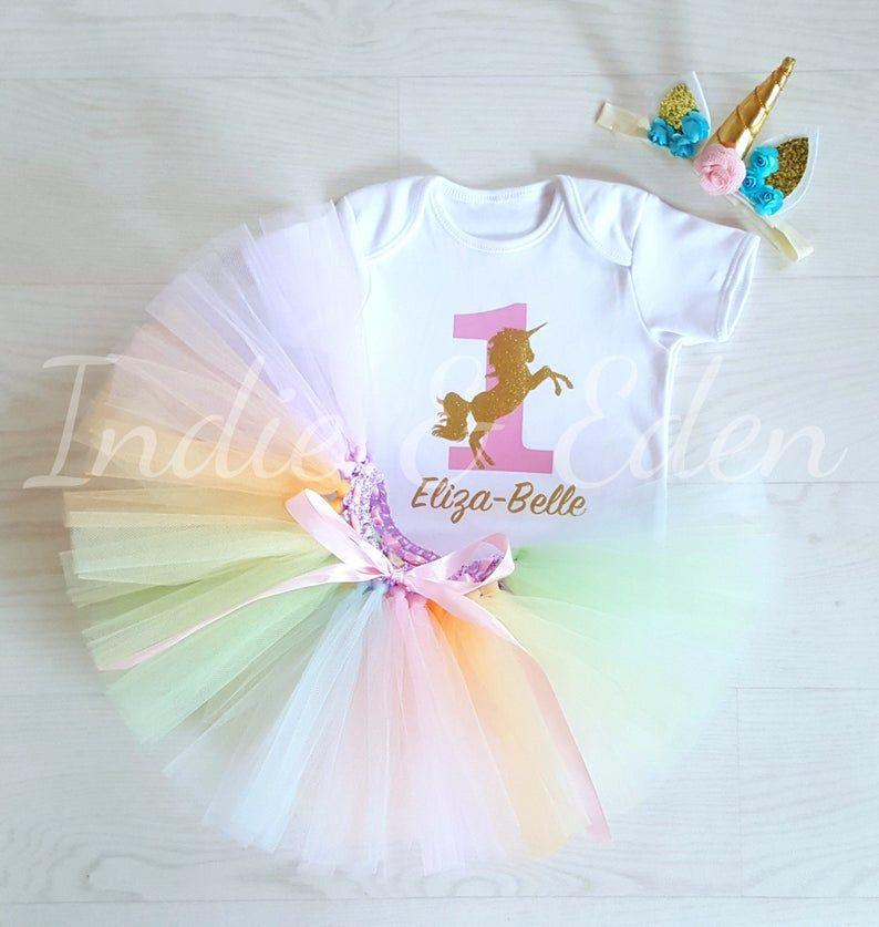 Baby Girls 1st Premier Anniversaire Robe Tutu Jupe Bandeau Gâteau Fête Outfits Sets
