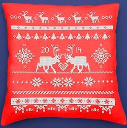 Red Reindeer Cross Stitch, Pre-finished Cushion Kit AE/04060-SC1086