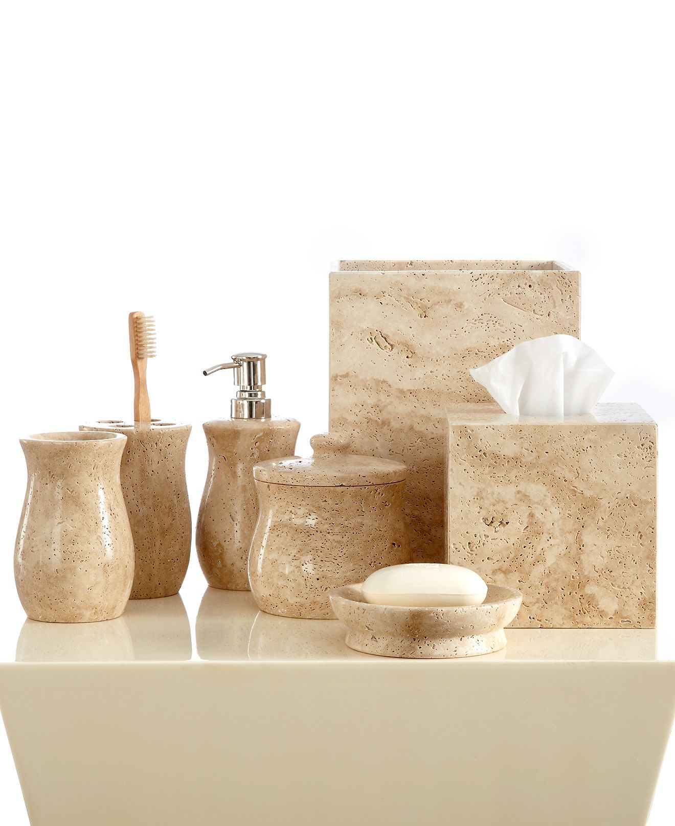 Roselli Bath Accessories, Travertine Collection | hmby 3 | Pinterest ...