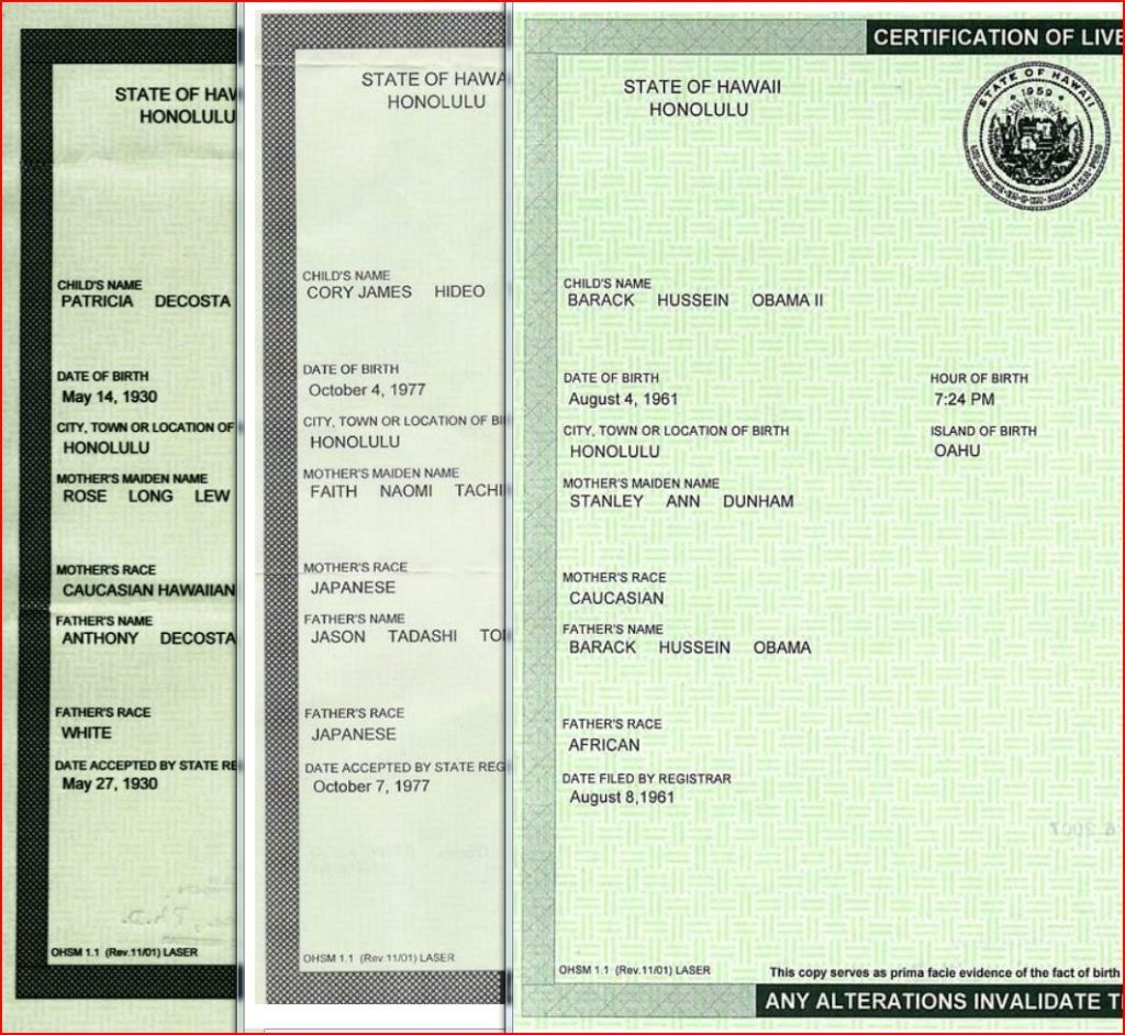 A Comparison Of 3 Hawaii Birth Certificates Including Obamas