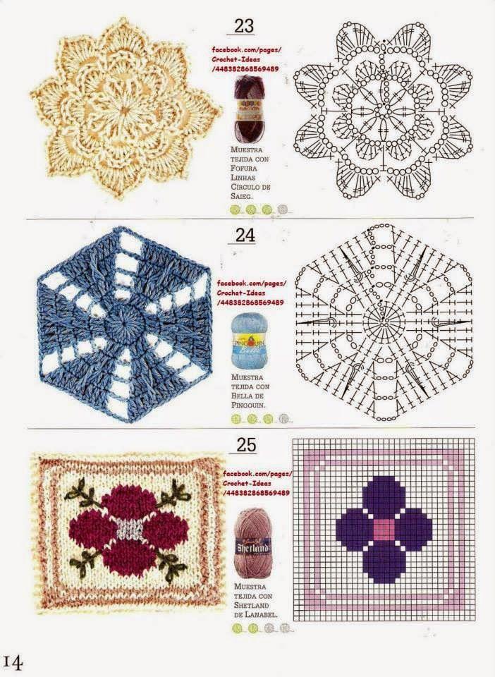 Como hacer m dulos y flores en crochet motivos - Aplicaciones a ganchillo ...