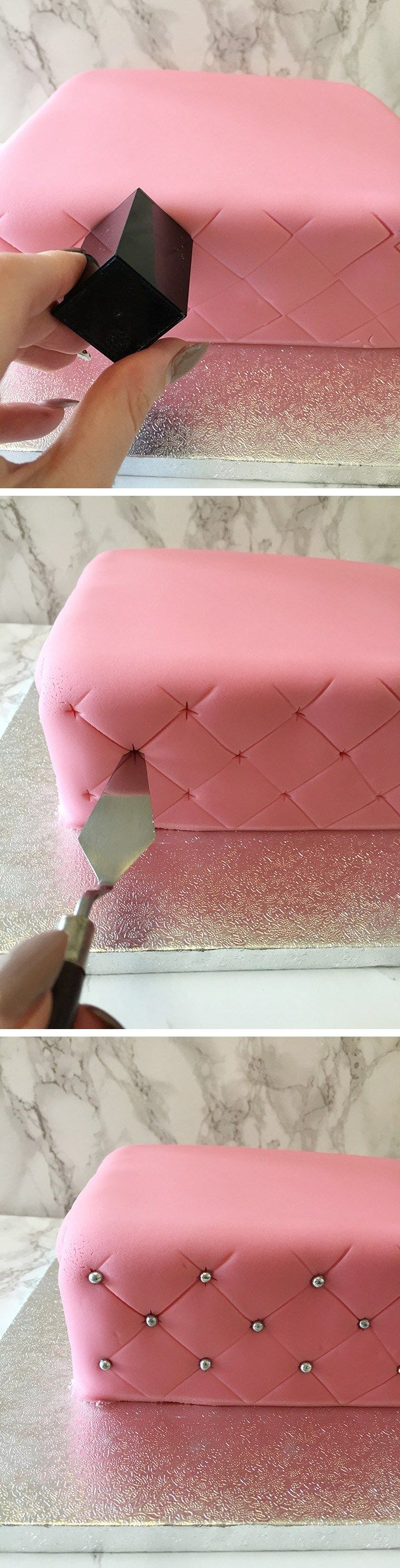 how to create a super simple quilted effect cake. No measuring, no rulers or…