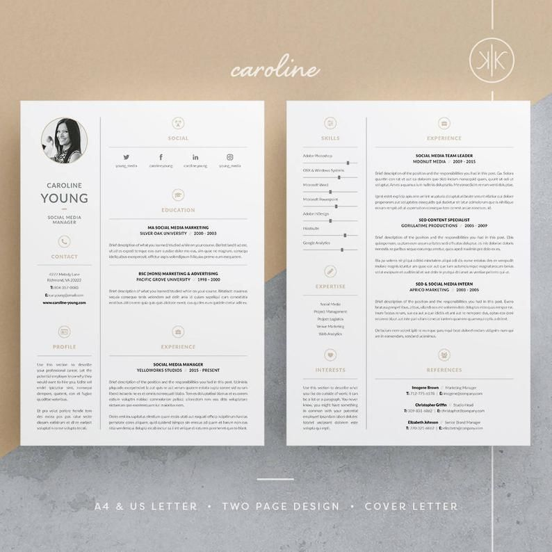 Caroline Resume/CV Template Word InDesign Etsy