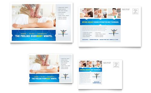 Reflexology  Massage Postcard Template  Design Layouts
